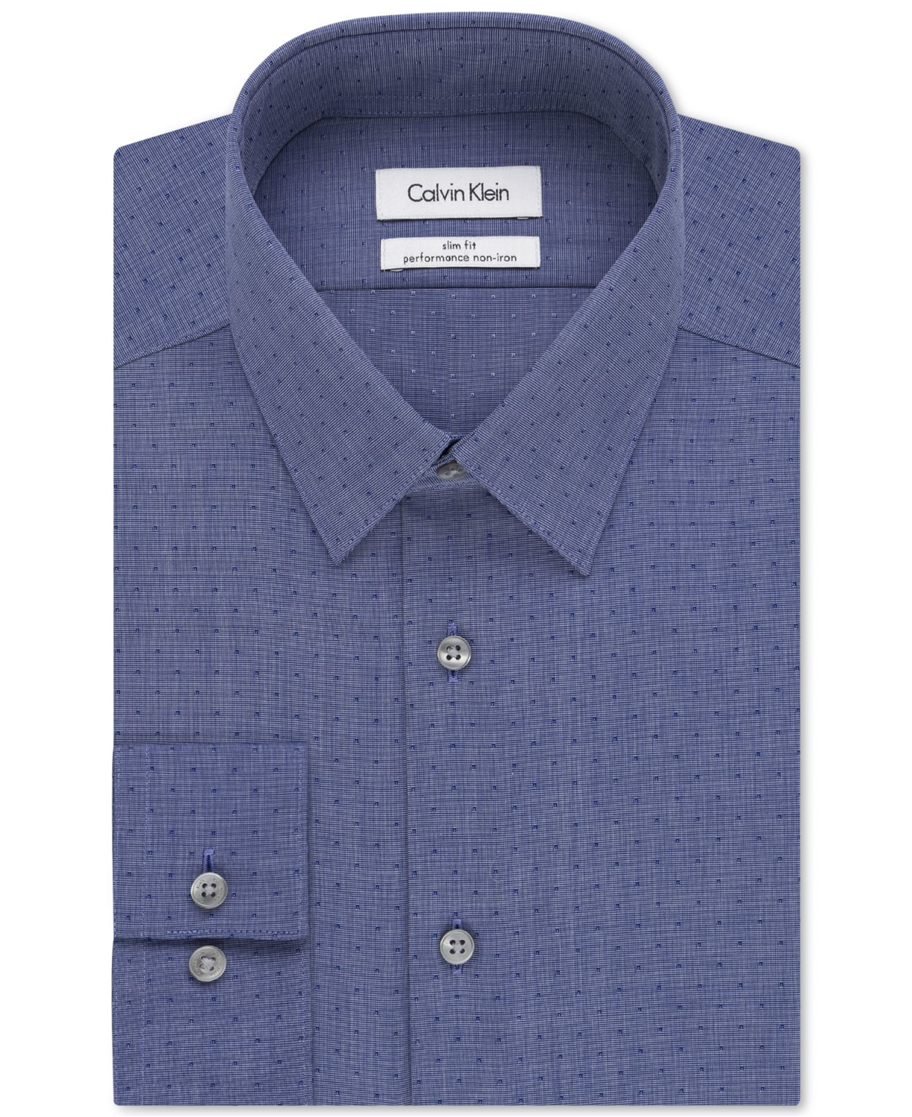 Calvin klein steel slim fit non iron performance dobby dot for Calvin klein athletic fit dress shirt