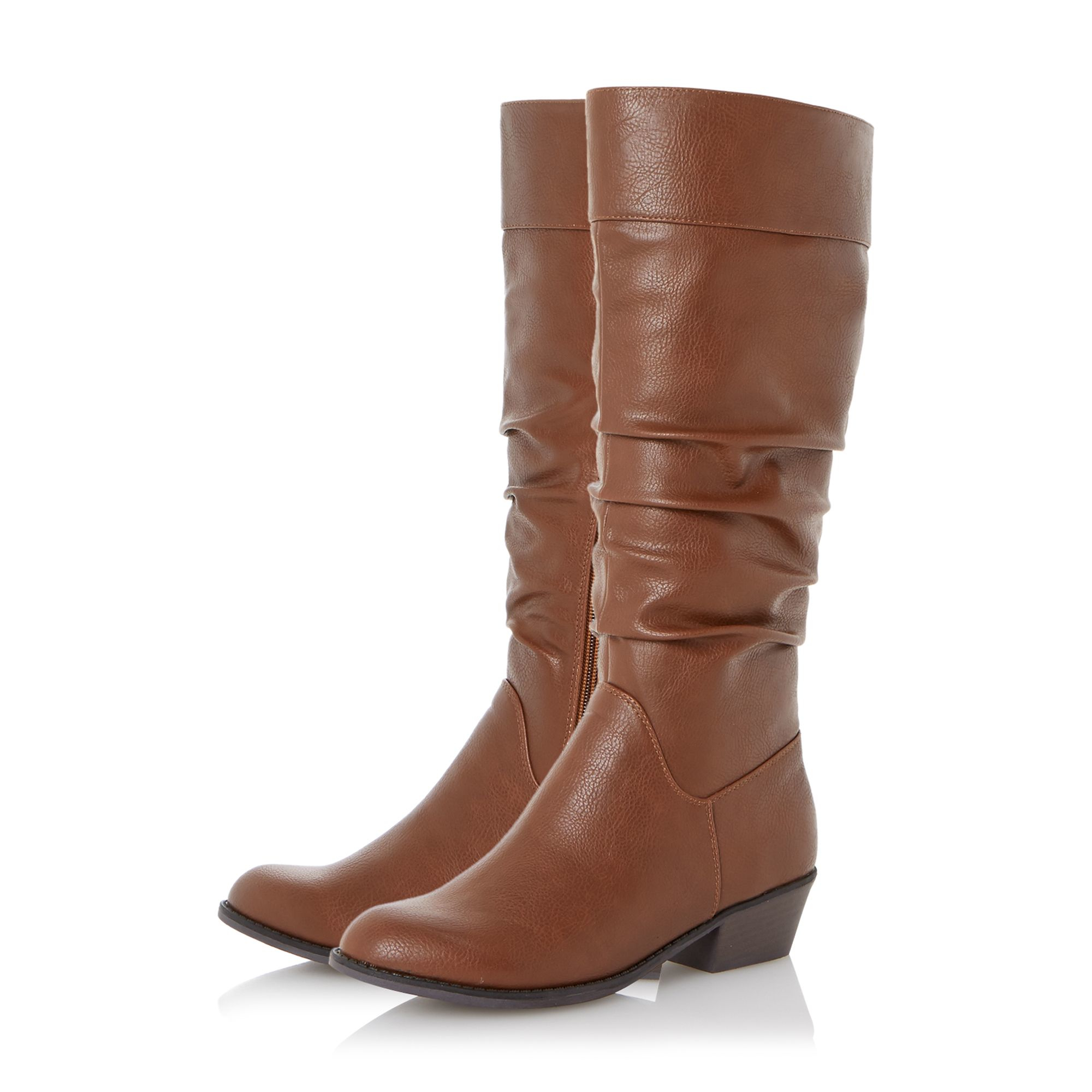 Dune Tarlia Ruched Knee High Boots in Tan (Brown)