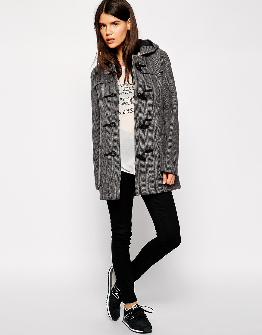 Gloverall Hooded Duffle Coat in Gray | Lyst