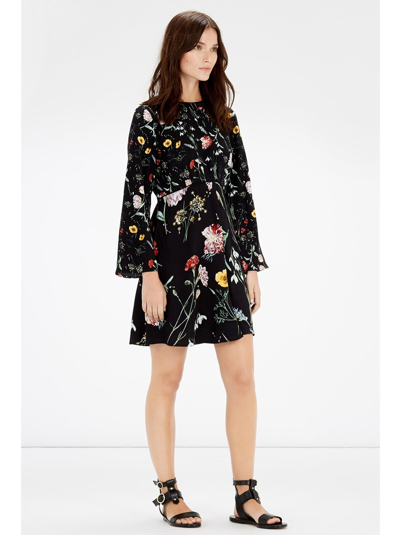 73e11c4dd0bf4 Warehouse Scatter Floral Dress in Black - Lyst