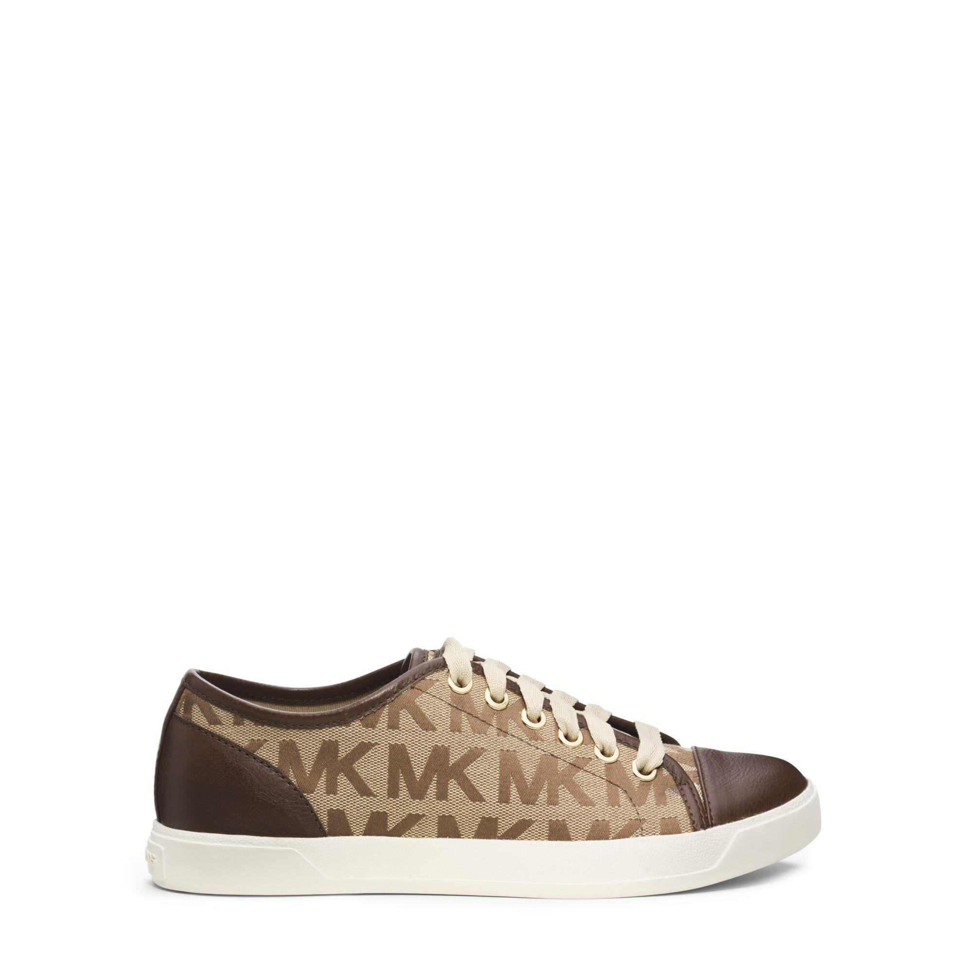 ee09246bb1c19 Lyst - Michael Kors Logo-print Metallic Leather Sneaker in Brown