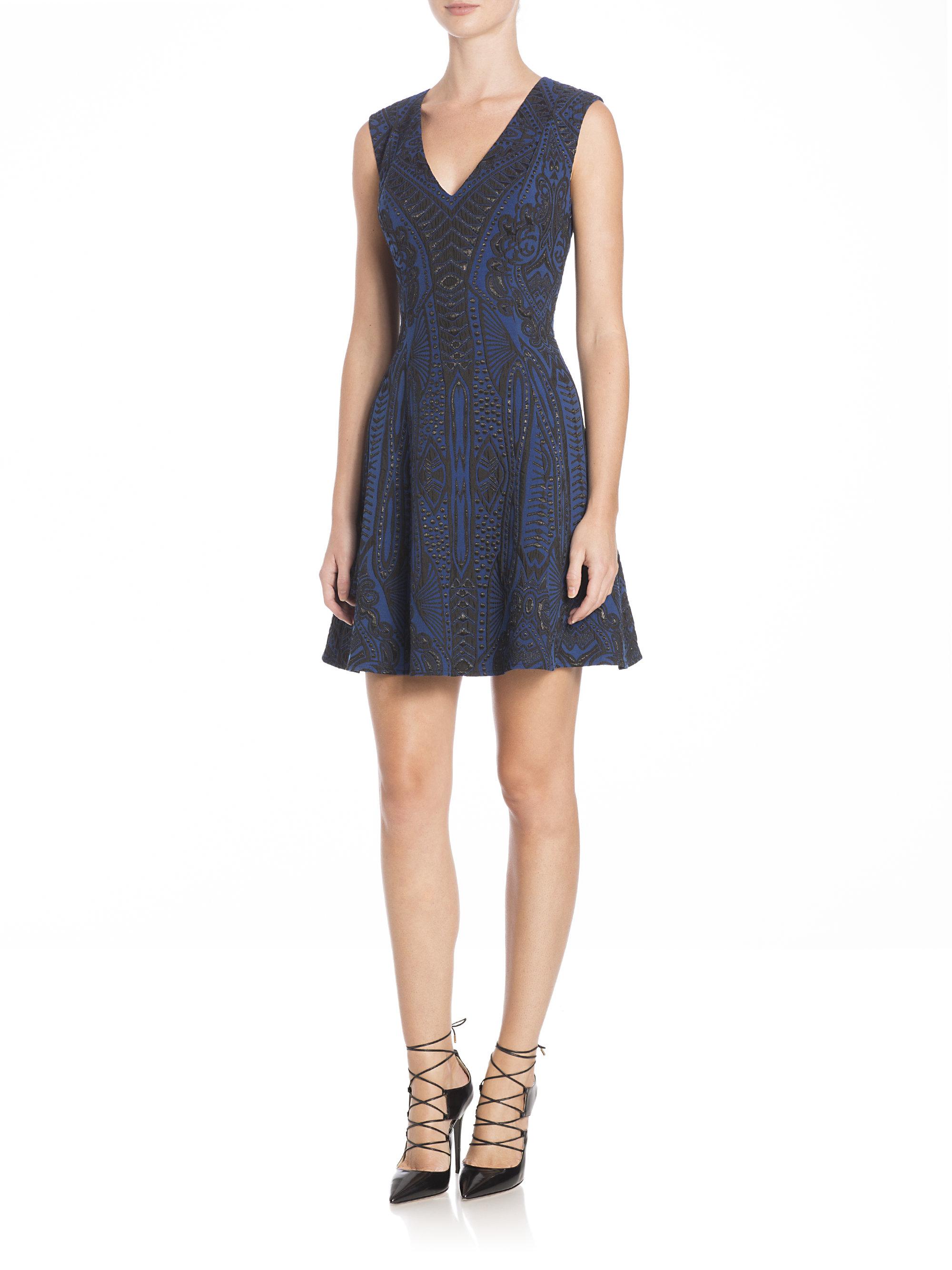 Bcbgmaxazria Synthetic Hannelli Jacquard Fit Amp Flare Dress