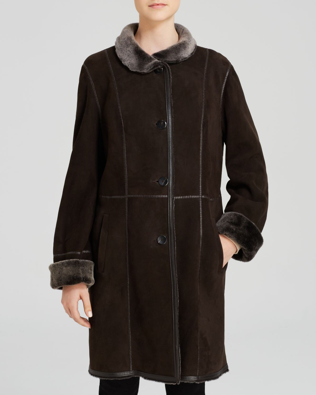 Maximilian Stand Collar Lamb Shearling Coat With Leather Trim in
