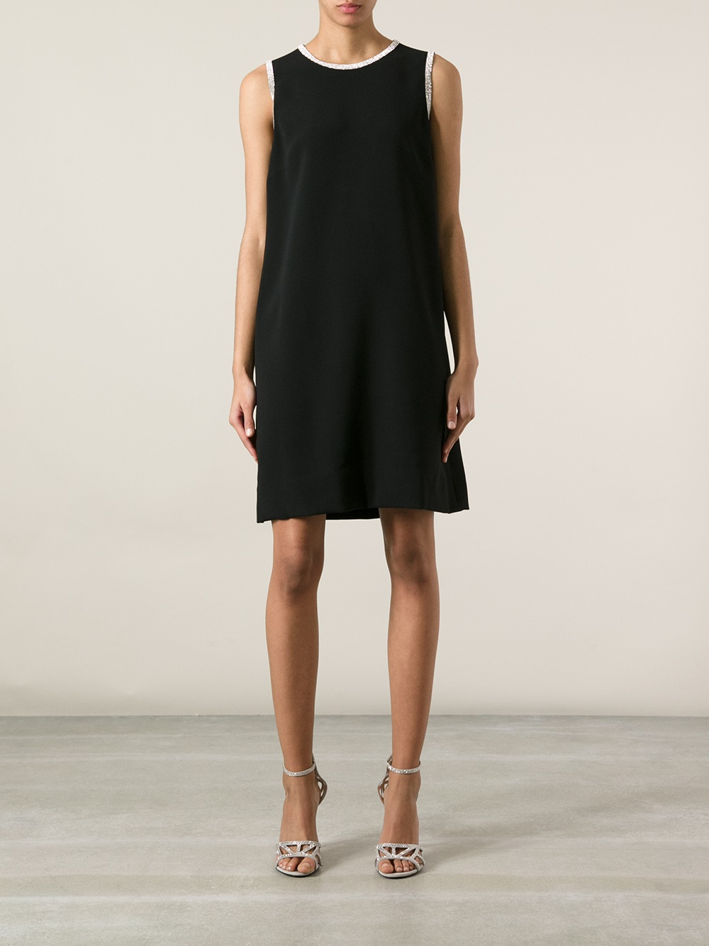 Dolce Amp Gabbana Sleeveless Shift Dress In Black Lyst