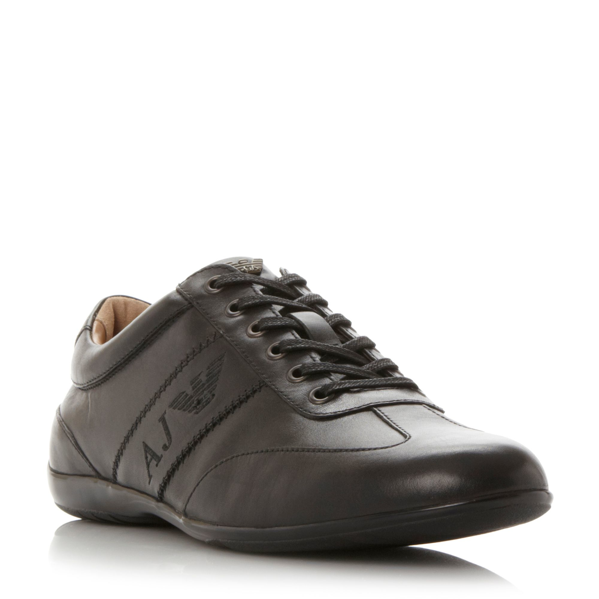 armani 0935534 slimline trainers in brown for lyst