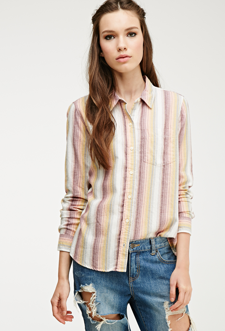 Forever 21 multi striped flannel shirt in yellow cream for Flannel shirts for womens forever 21