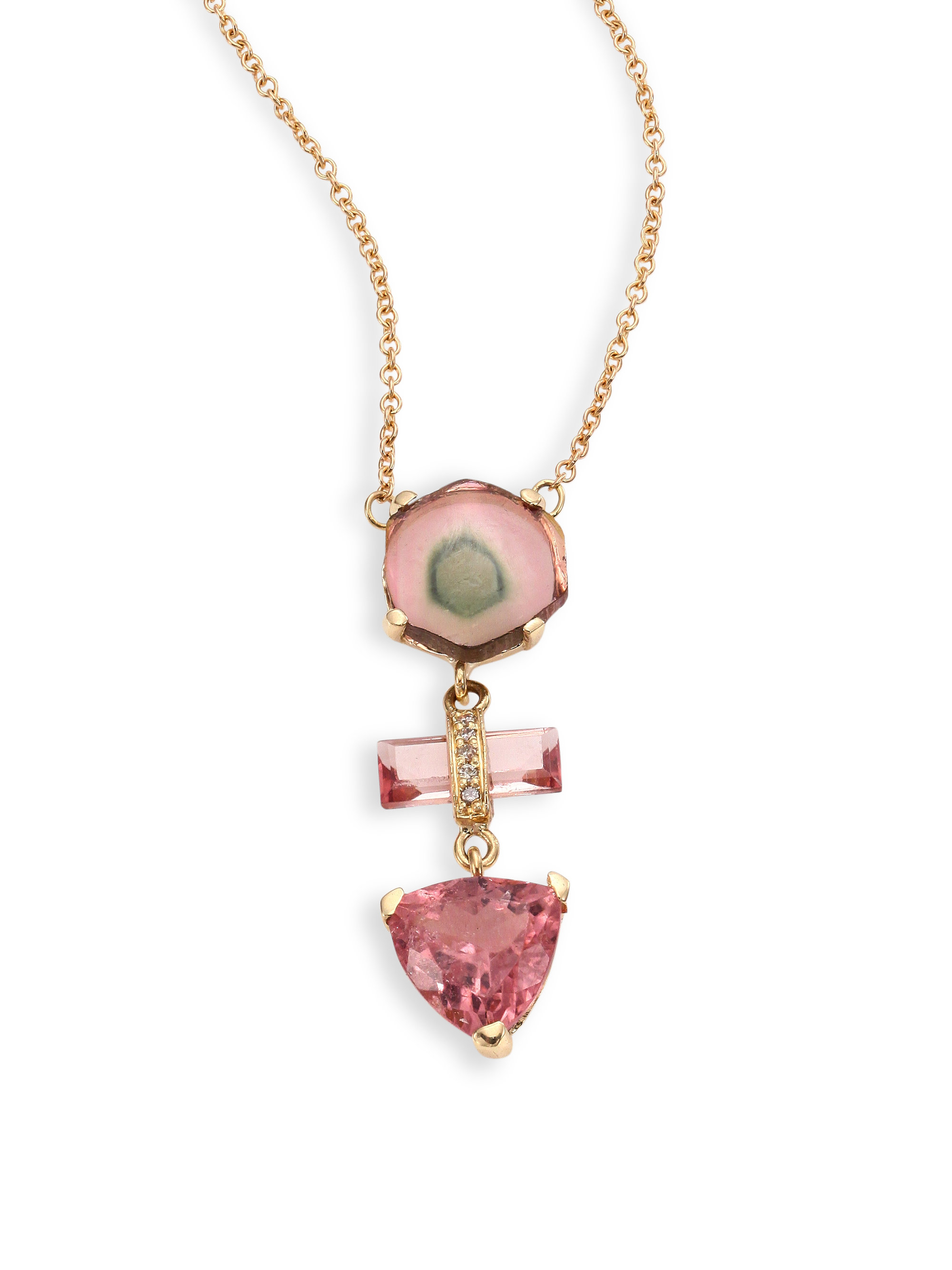 jacquie aiche 14k yellow gold pink tourmaline necklace in. Black Bedroom Furniture Sets. Home Design Ideas