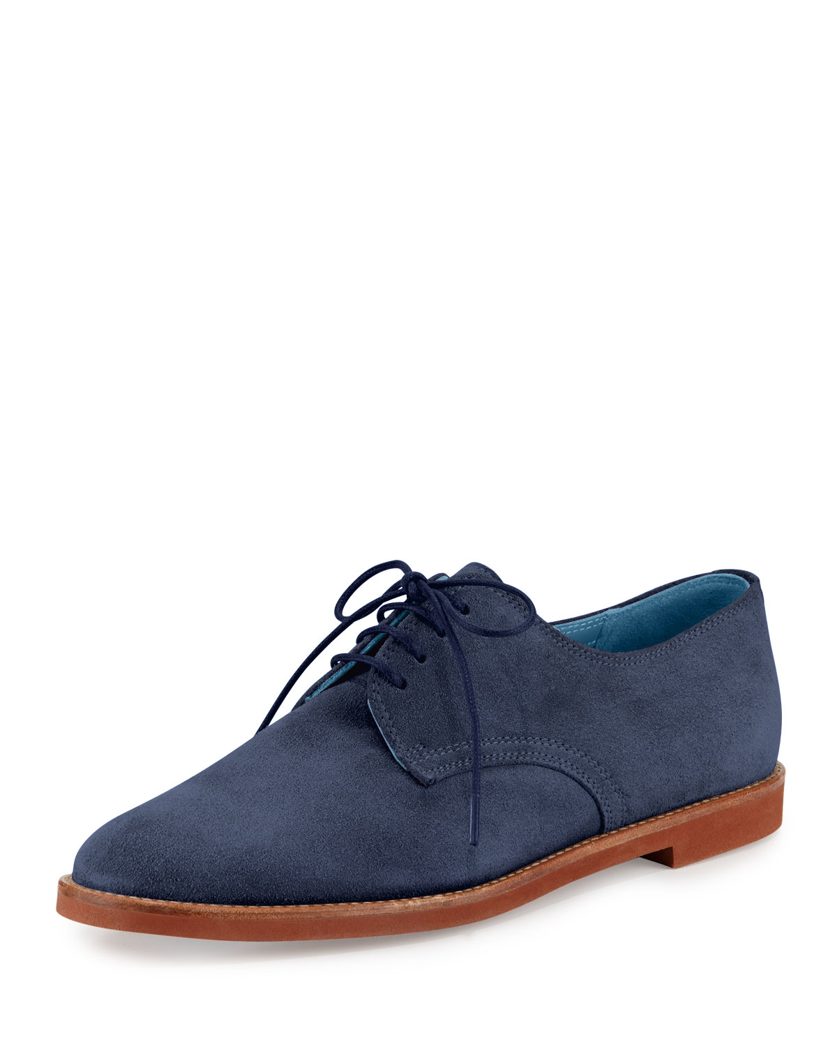 Manolo Blahnik Bukka Joe Suede Oxford Shoes In Blue | Lyst