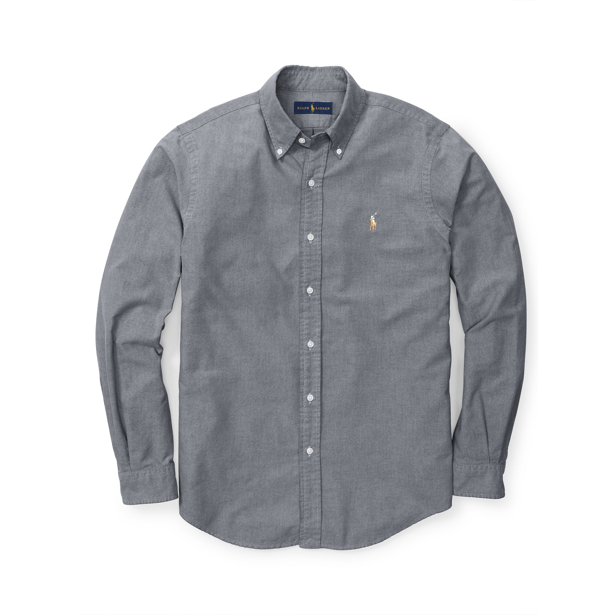 Lyst - Polo Ralph Lauren Solid Oxford Sport Shirt in Gray for Men c87c9d13742