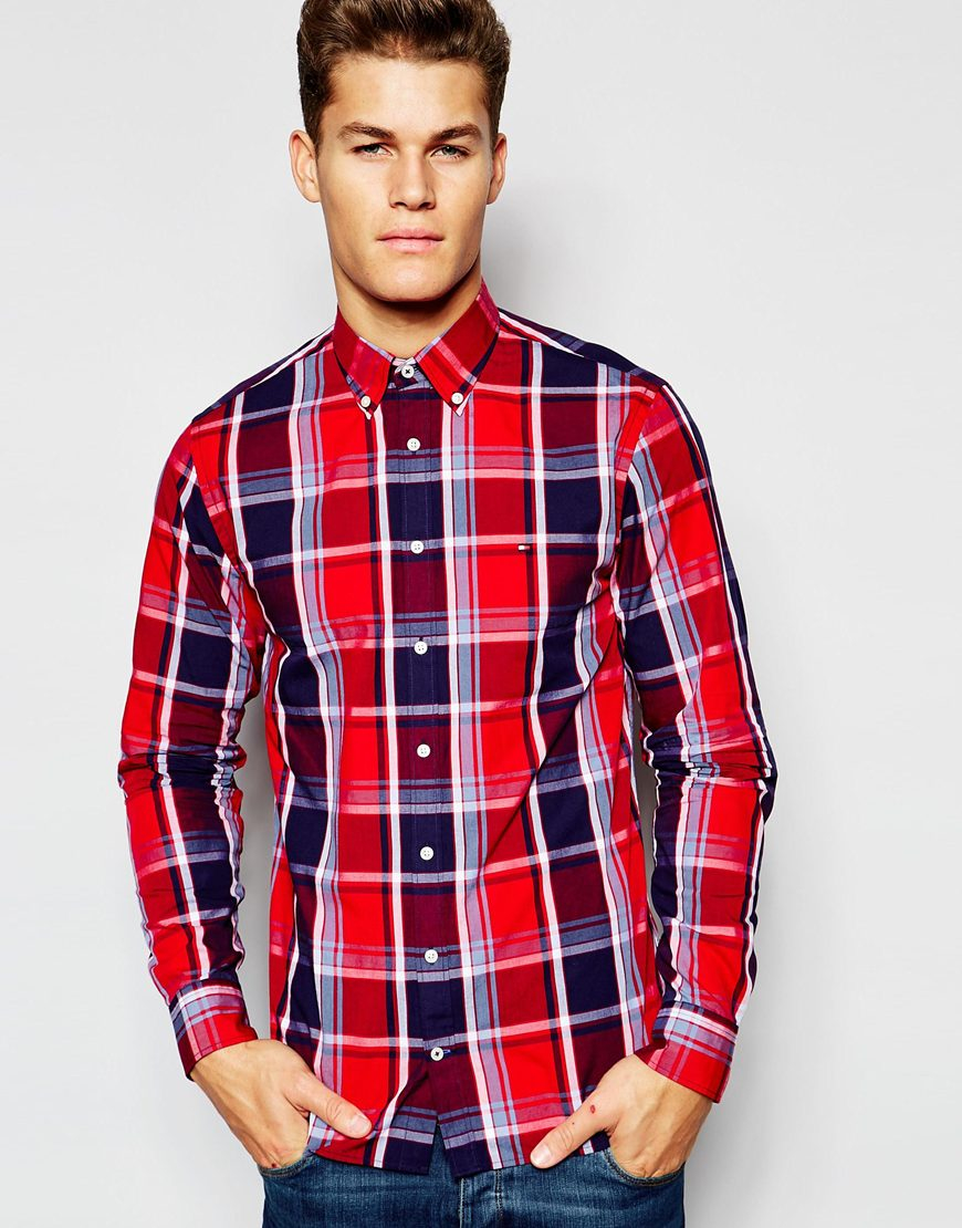 Lyst tommy hilfiger shirt with large gingham in red for men for Tommy hilfiger gingham dress shirt