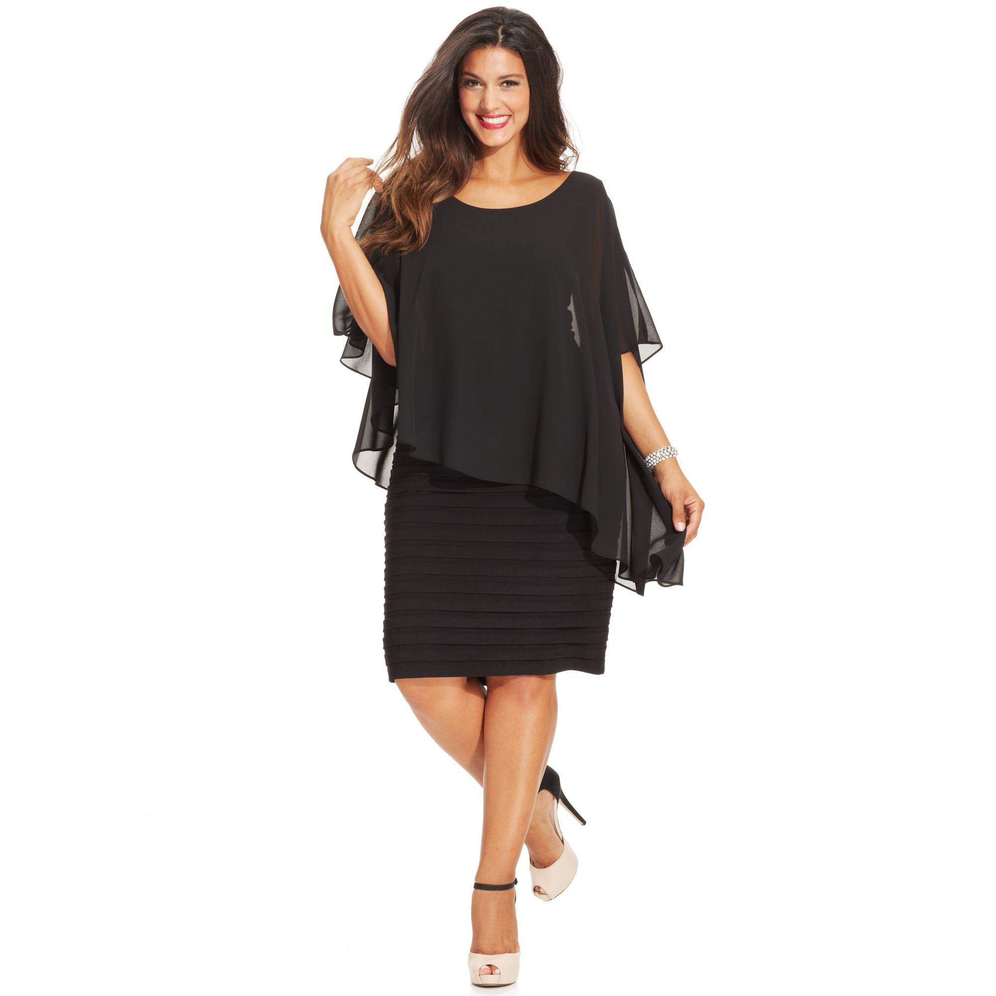 Betsy adam plus size chiffon capelet sheath dress in for Macy black dress wear to wedding