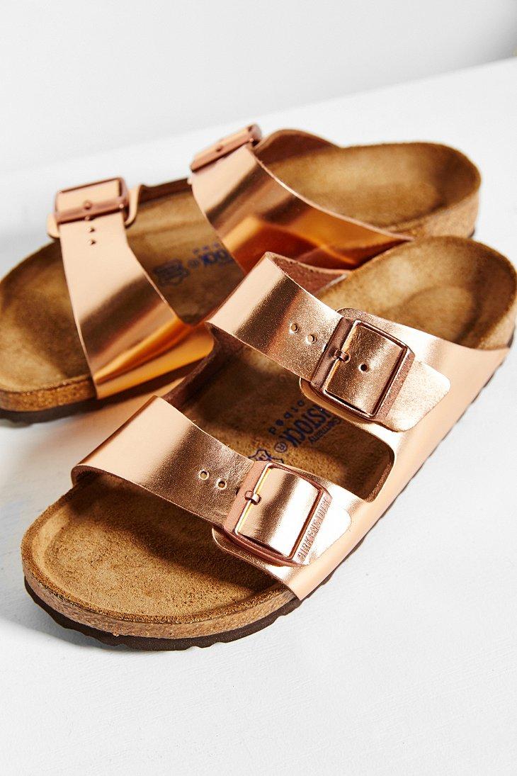 lyst birkenstock arizona metallic soft footbed sandal in. Black Bedroom Furniture Sets. Home Design Ideas