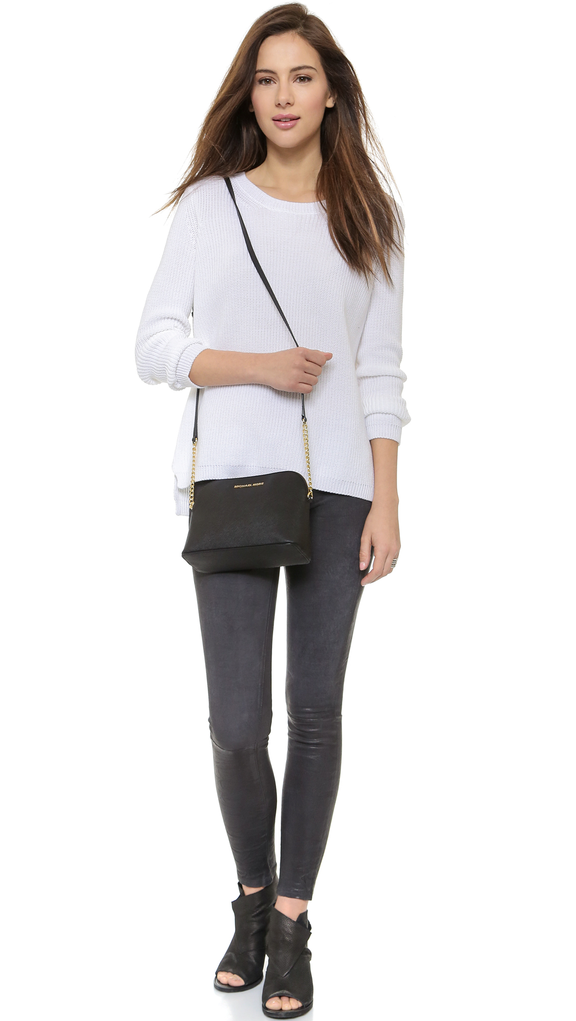 a9a48886b50a discount code for michael michael kors cindy dome cross body bag in black  lyst 83172 262ae