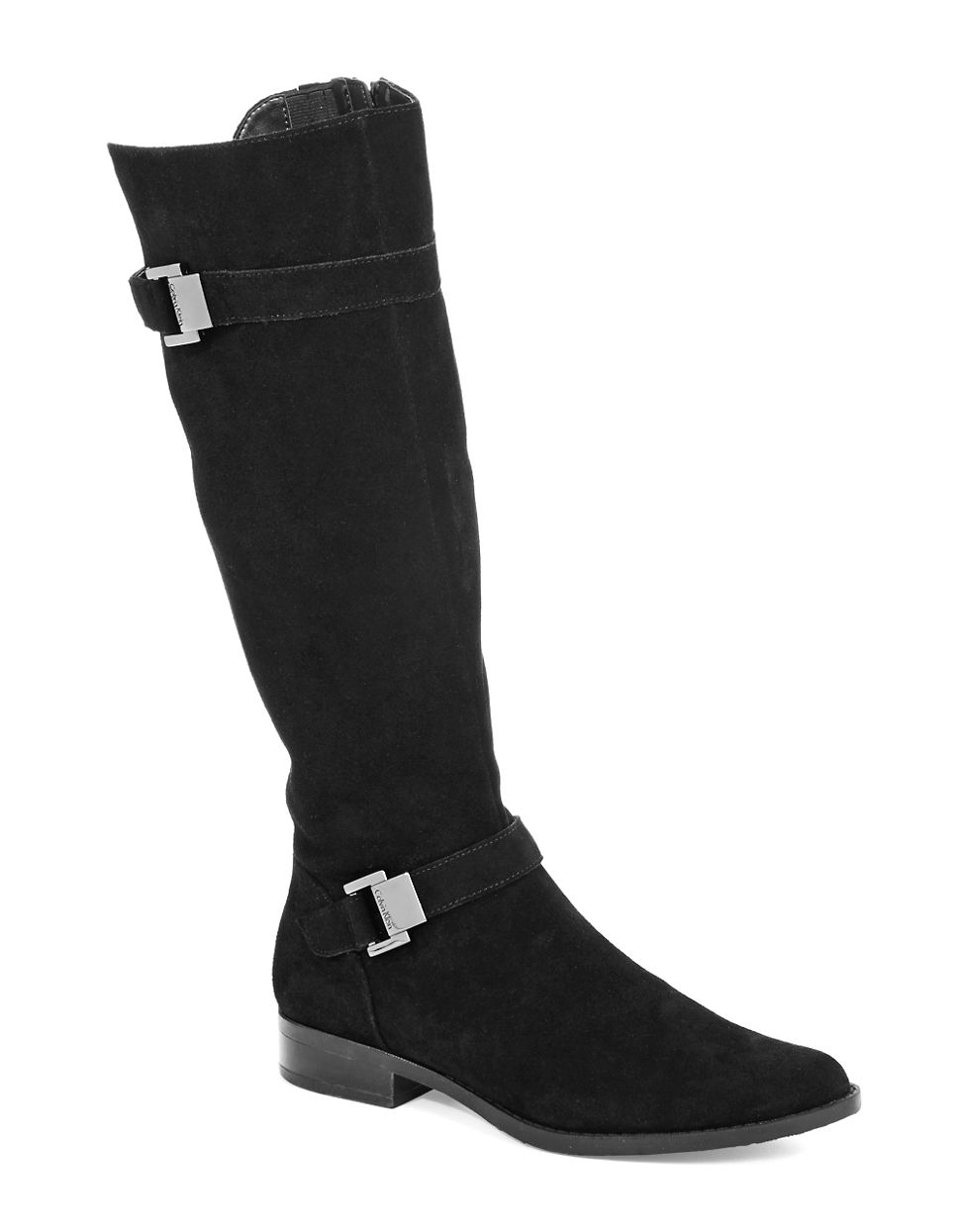 calvin klein terena wide calf suede boots in black lyst