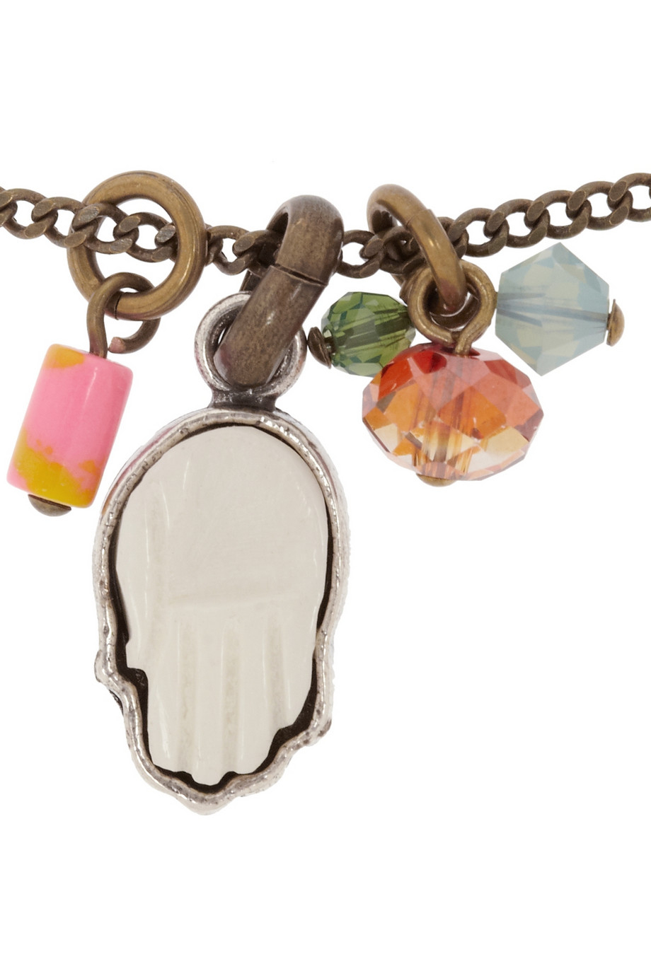 Isabel Marant Crazy Fish Goldtone Bead Necklace in Pink (Metallic)