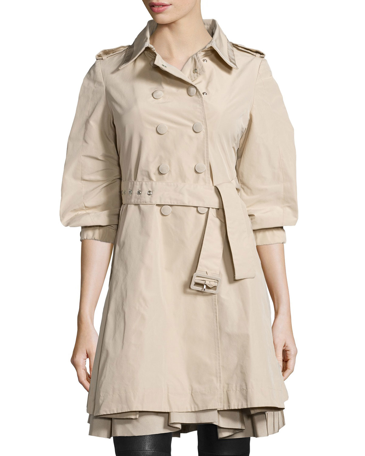 5fb48548367a ... spain lyst moncler double breasted puff sleeve trench coat in natural  0aebd f3bac ...