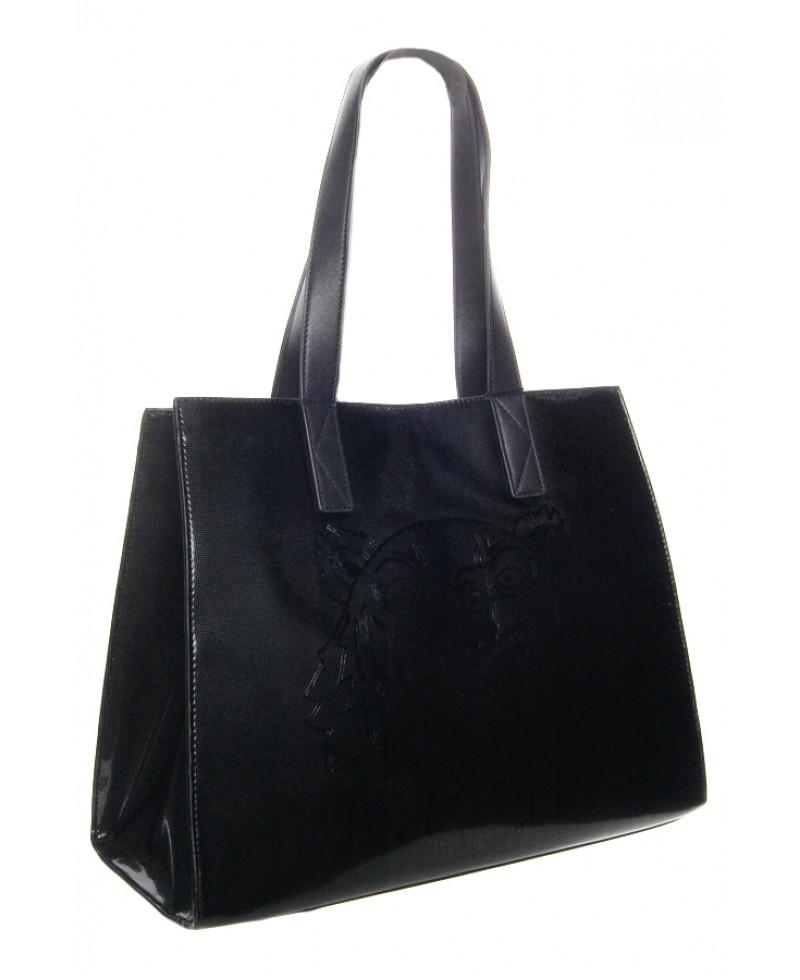 KENZO Large Metallic Tiger Tote Bag in Black