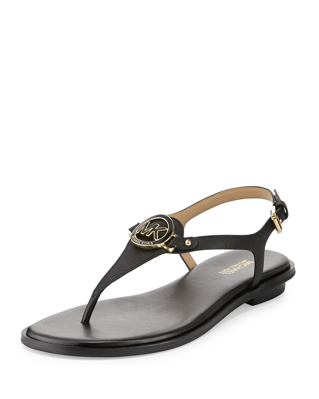 michael michael kors lee leather flat thong sandal in. Black Bedroom Furniture Sets. Home Design Ideas