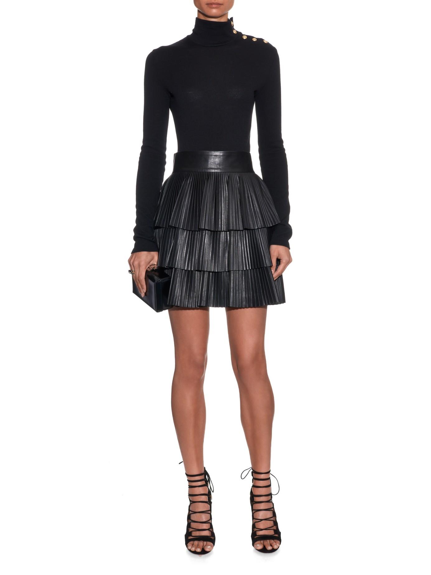 balmain pleated leather mini skirt in black lyst
