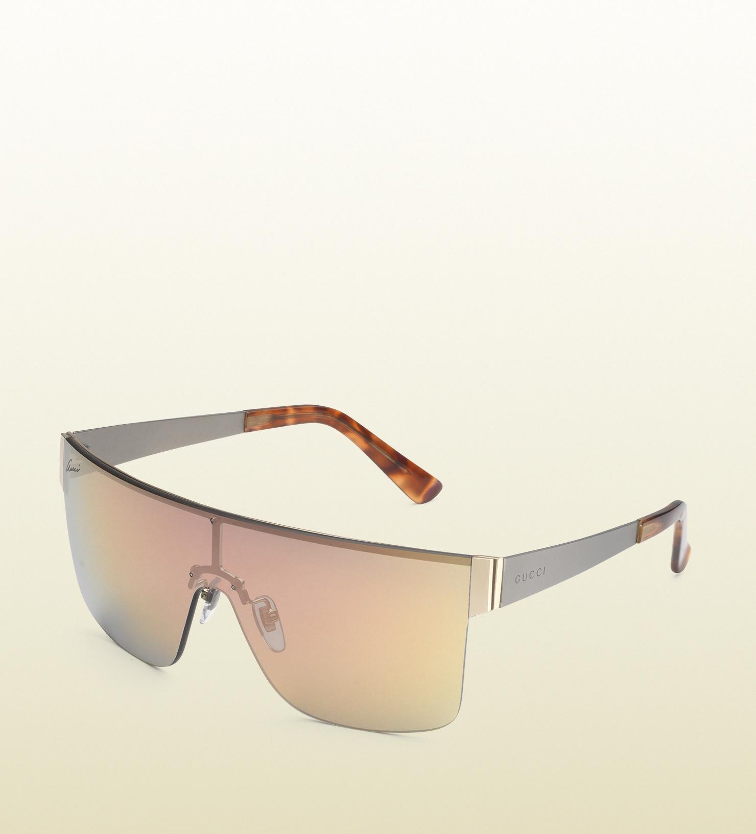 Gucci Metal Frame Glasses : Gucci Mask-frame Metal Sunglasses in Metallic Lyst