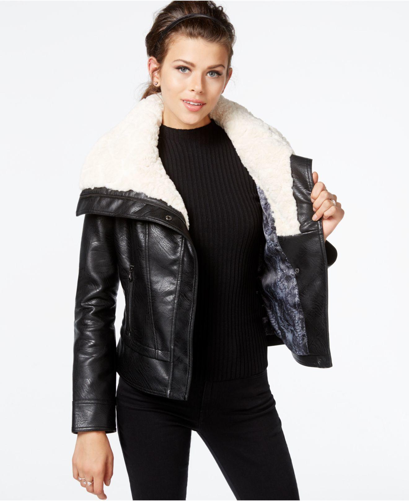 598e10100 Guess Black Faux-fur-collar Faux-leather Jacket