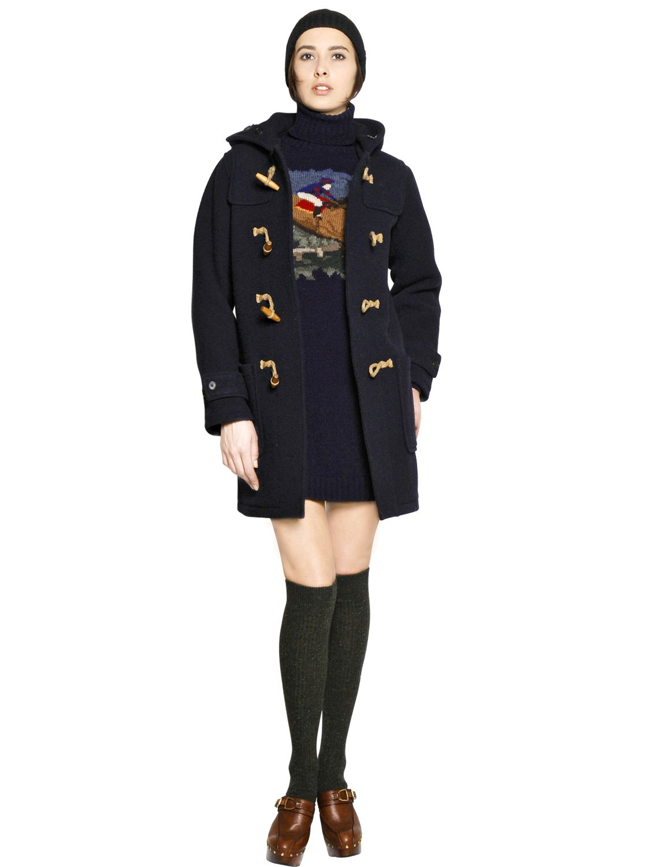 b17d7ccf2 Polo Ralph Lauren Blue Boiled Wool Blend Duffle Coat