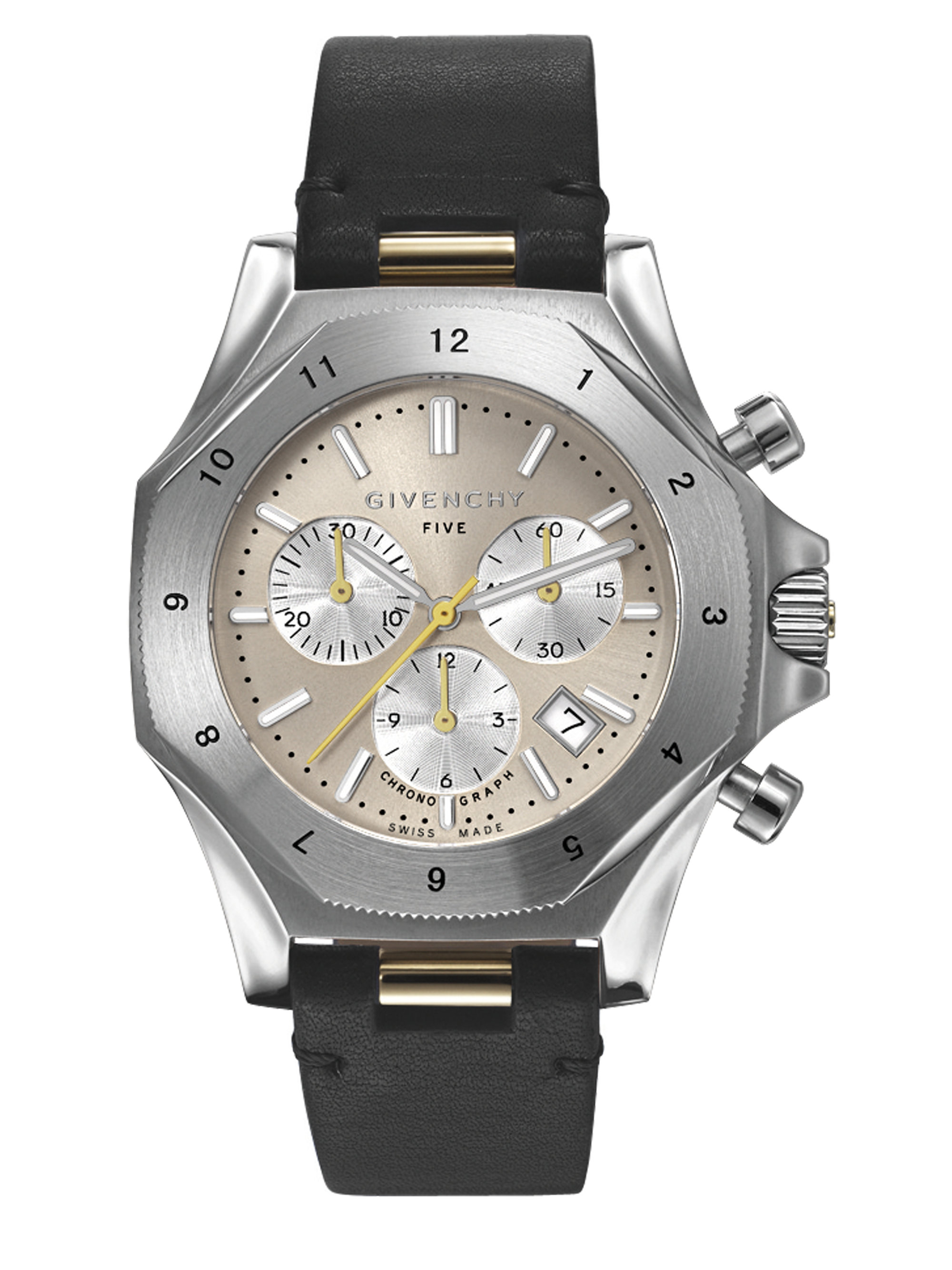 Givenchy black five stainless steel chronograph watch lyst for Givenchy watches