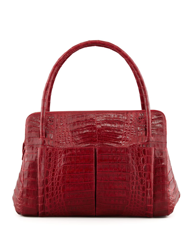 Nancy gonzalez linda medium crocodile tote bag in red lyst for Nancy gonzalez crocodile tote