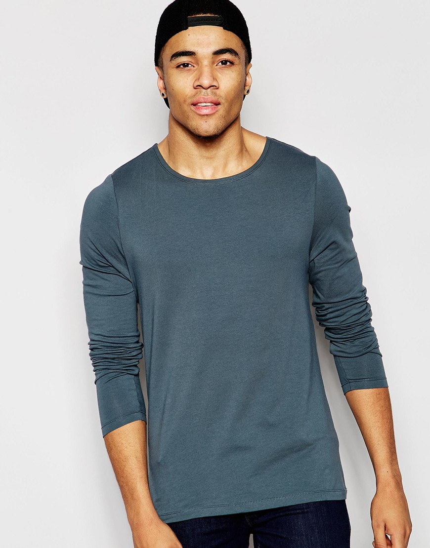 Asos Muscle Long Sleeve T Shirt With Boat Neck In Grey In