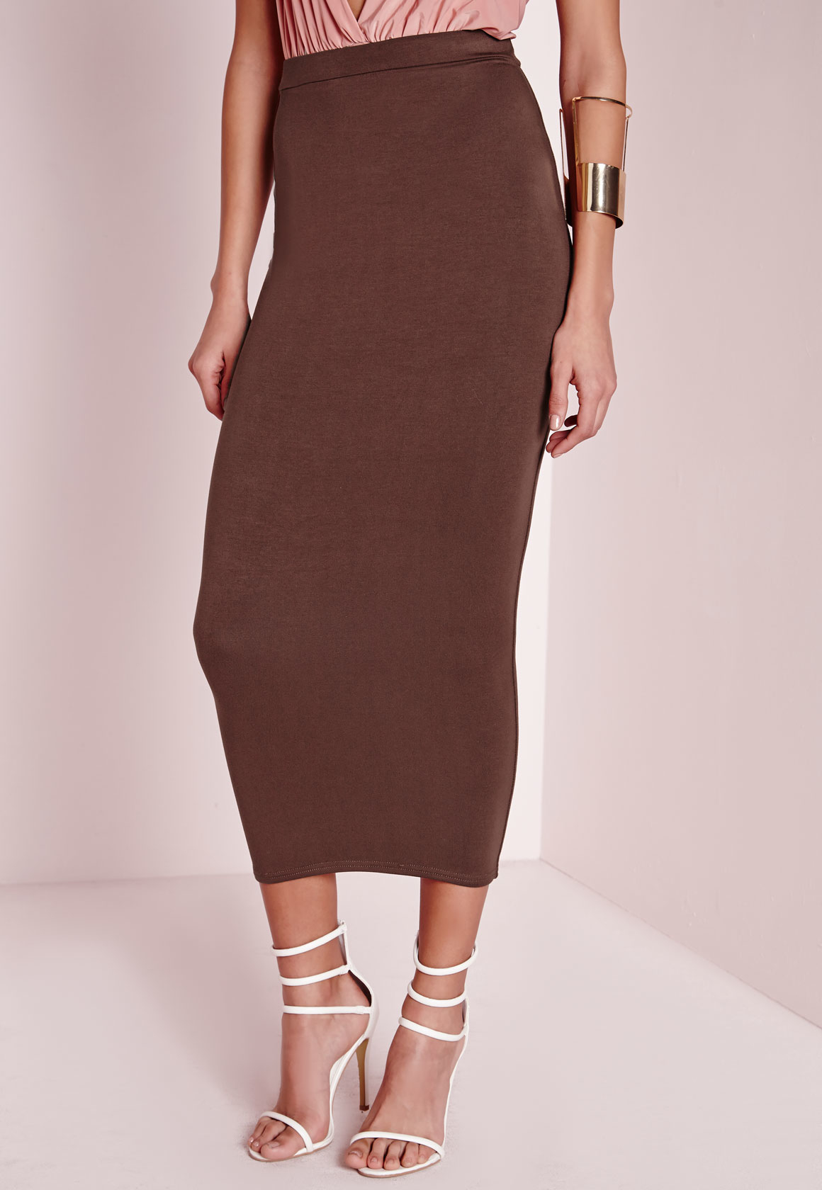 missguided longline jersey midi skirt chocolate brown in