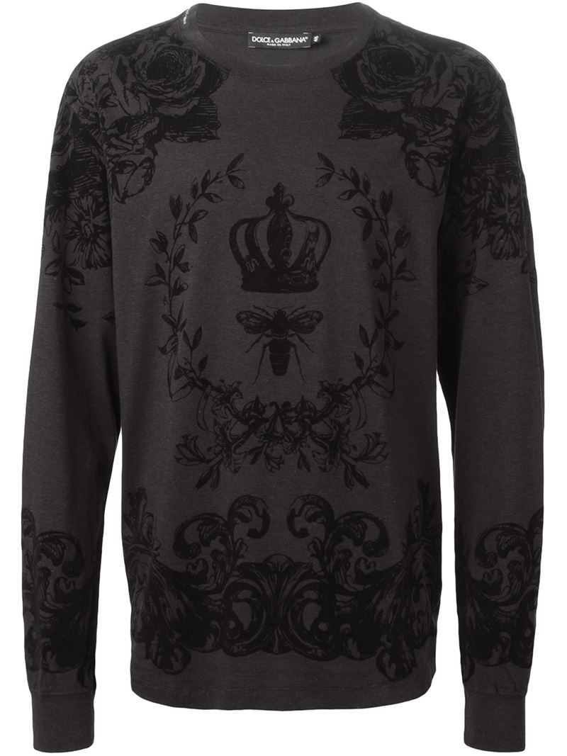 Lyst dolce gabbana floral bee and crown print t shirt for Dolce and gabbana printed t shirts