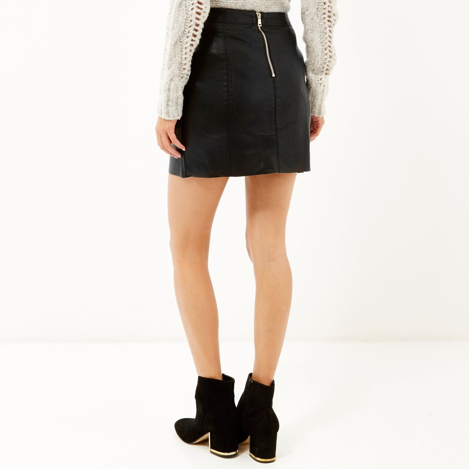 7fe1179b09 River Island Lace And Leather Look Mini Skirt