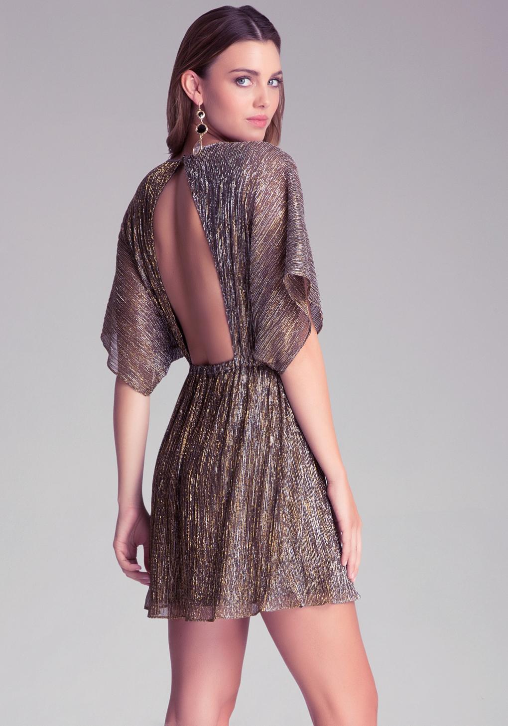 40abe7d5d540 Bebe Metallic Crinkle Dress in Metallic - Lyst