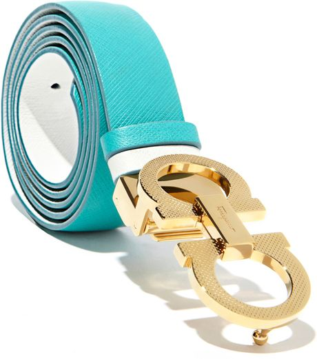 Ferragamo Adjustable and Reversible Belt in Blue (Turquoise Green ...