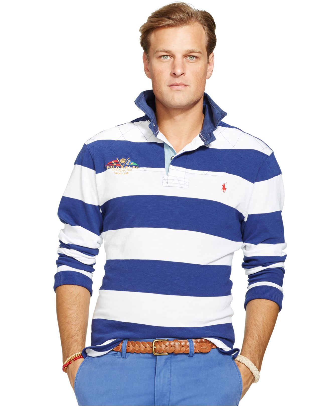 Lyst polo ralph lauren big and tall varsity jersey rugby for Big and tall polo rugby shirts