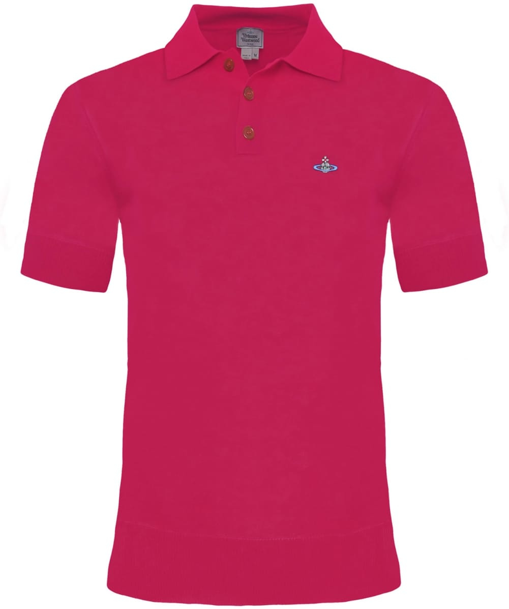 Lyst vivienne westwood knitted polo shirt in pink for men for Man in polo shirt