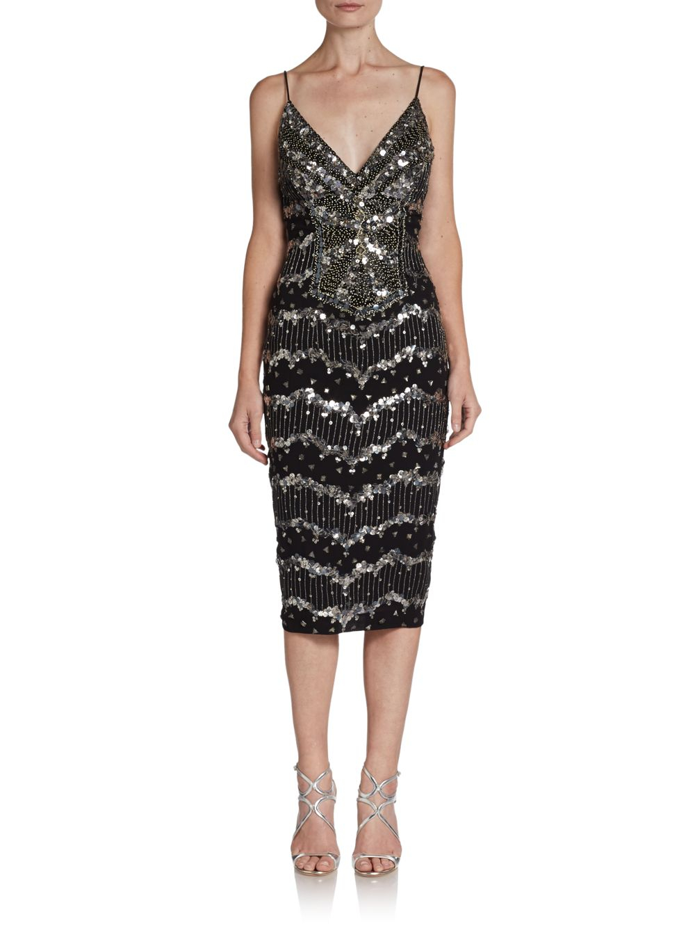 Mandalay Silk Sequined Cocktail Dress In Black Silver