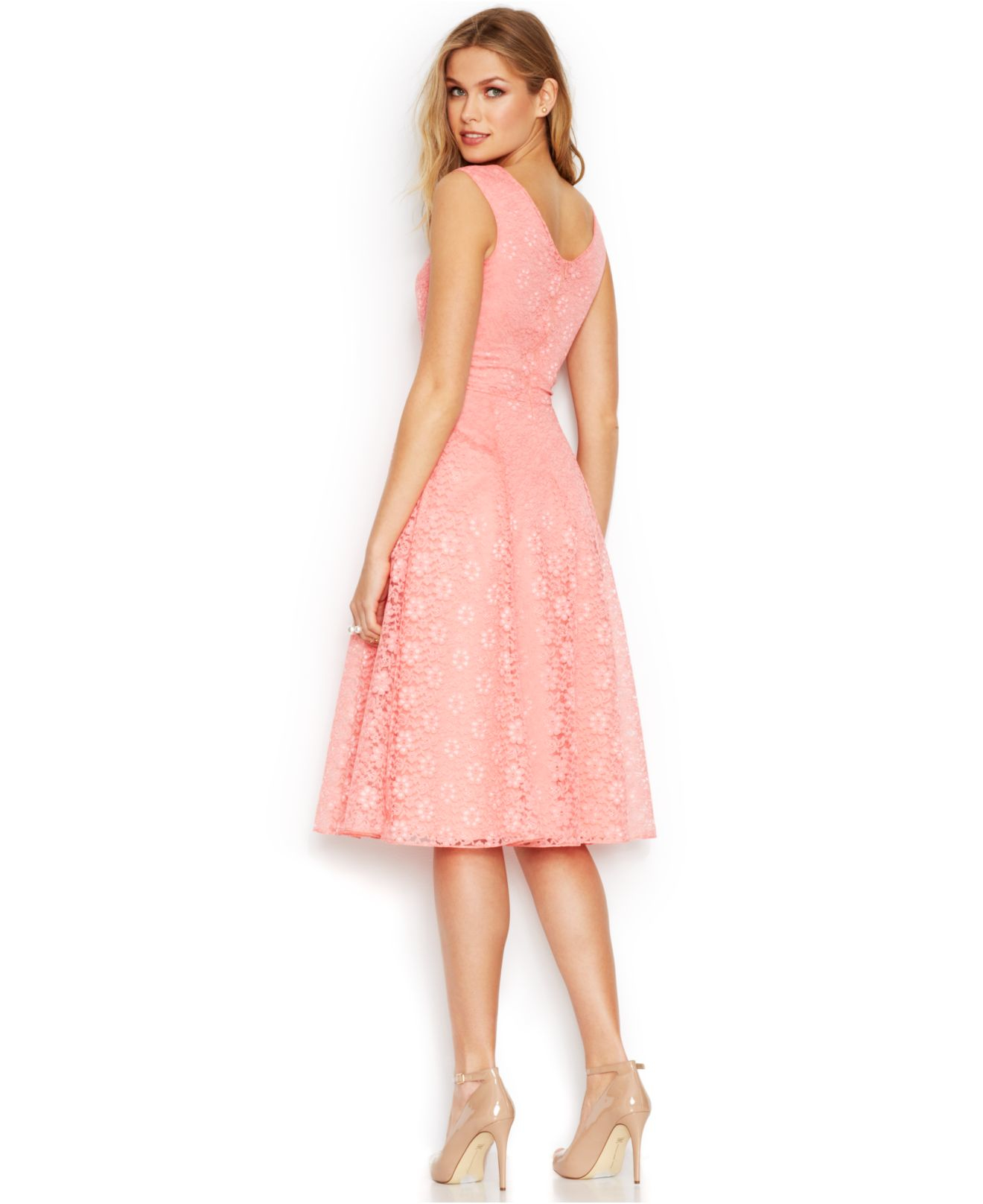 Betsey Johnson Floral Lace Tea Length Dress In Coral Pink