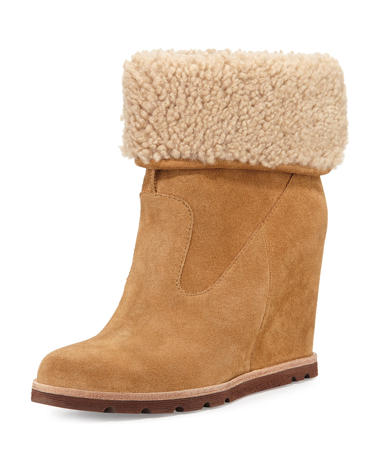ugg kyra shearling wedge boots in brown lyst