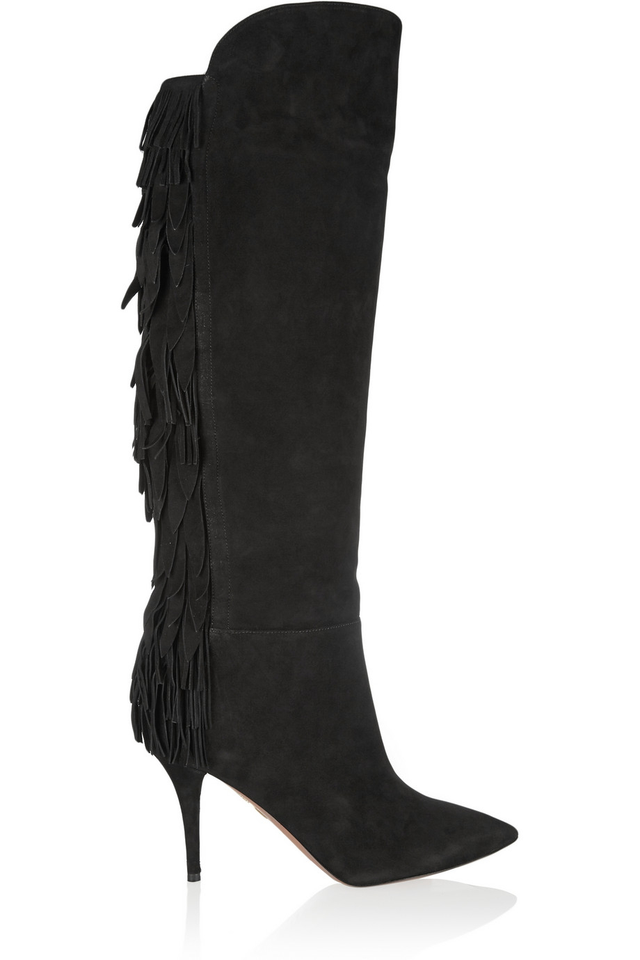 Aquazzura Jagger Fringed Suede Boots in Black