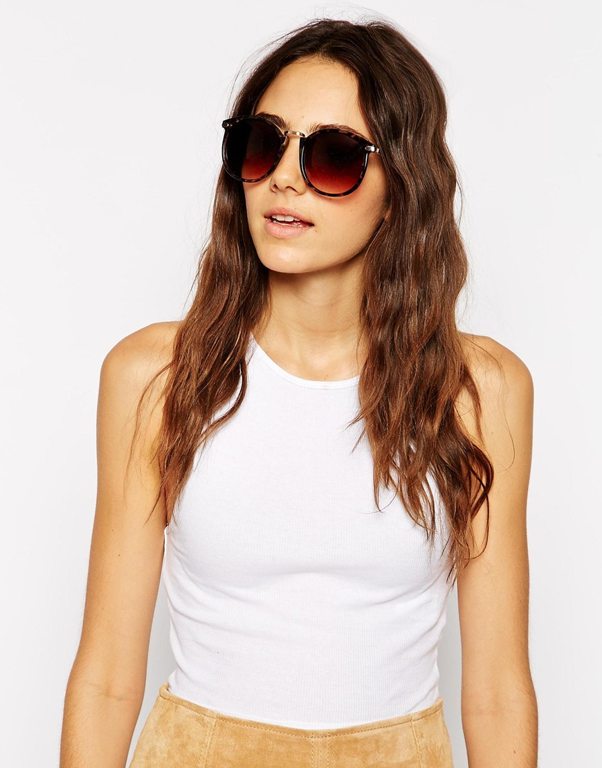 Oversized Round Sunglasses  asos oversized round sunglasses with metal nose bridge in brown lyst