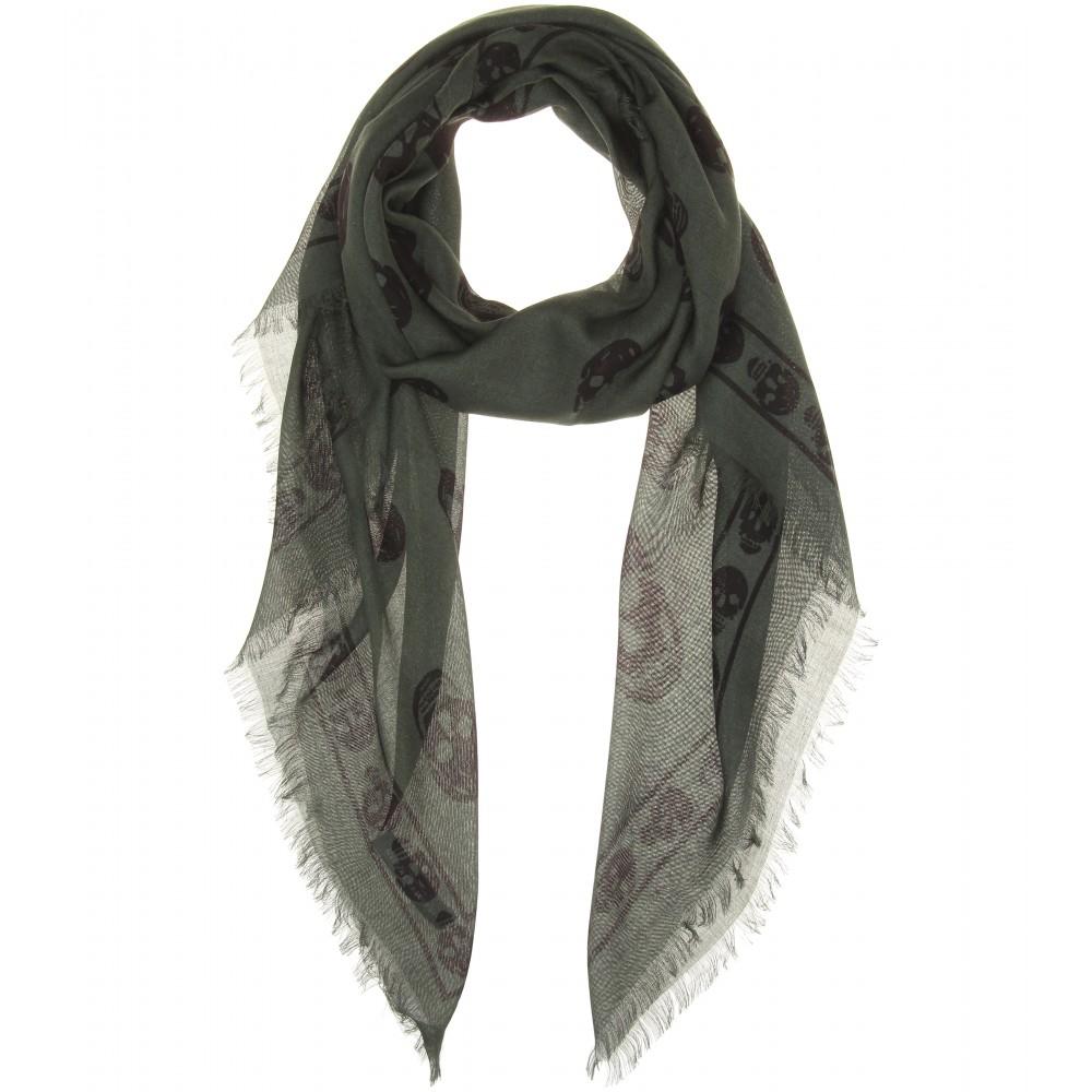 mcqueen skull print woven scarf in green lyst