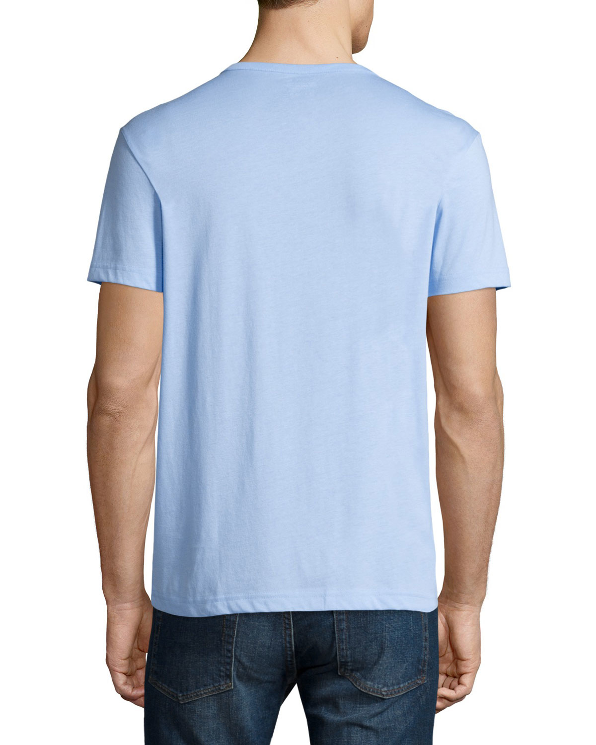 Lacoste short sleeve henley shirt in blue for men lyst for Short sleeve lacoste shirt