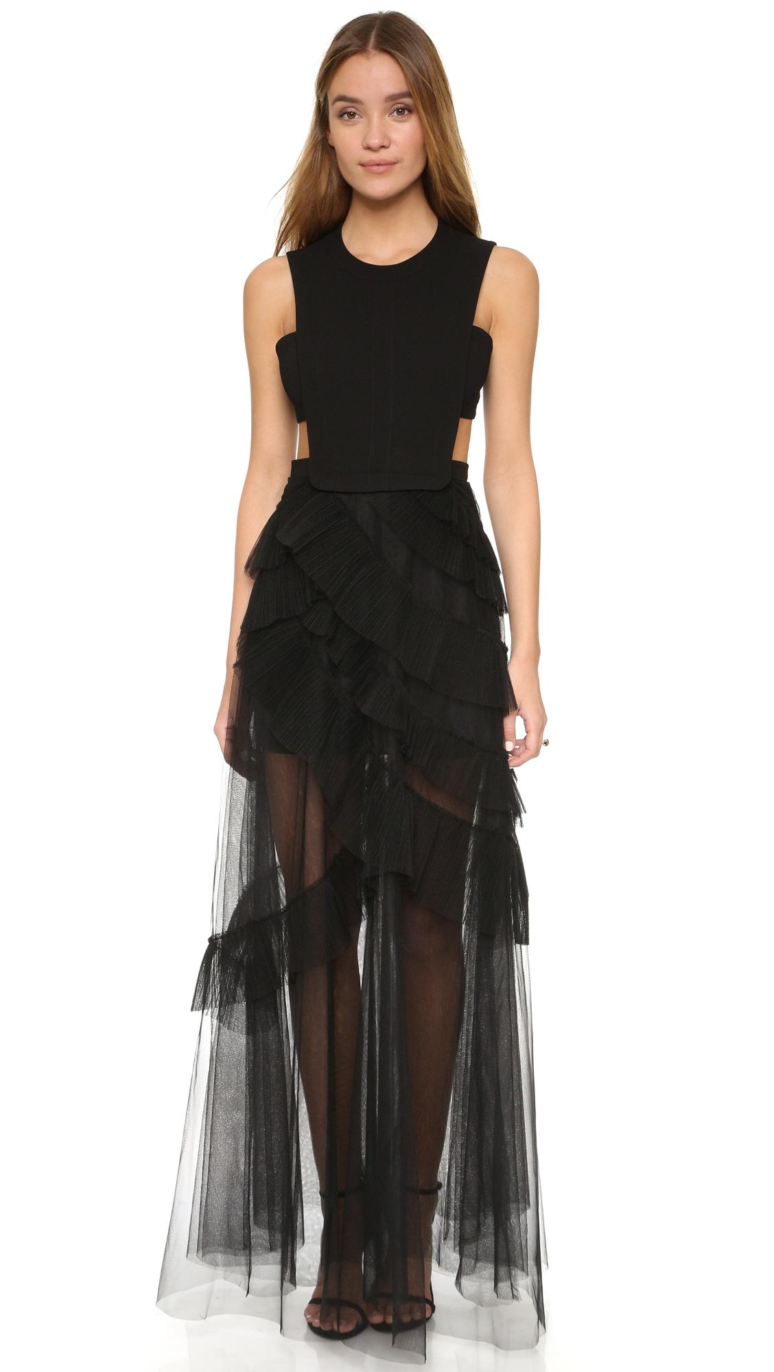 Bcbgmaxazria Tulle Cutout Gown in Black - Lyst