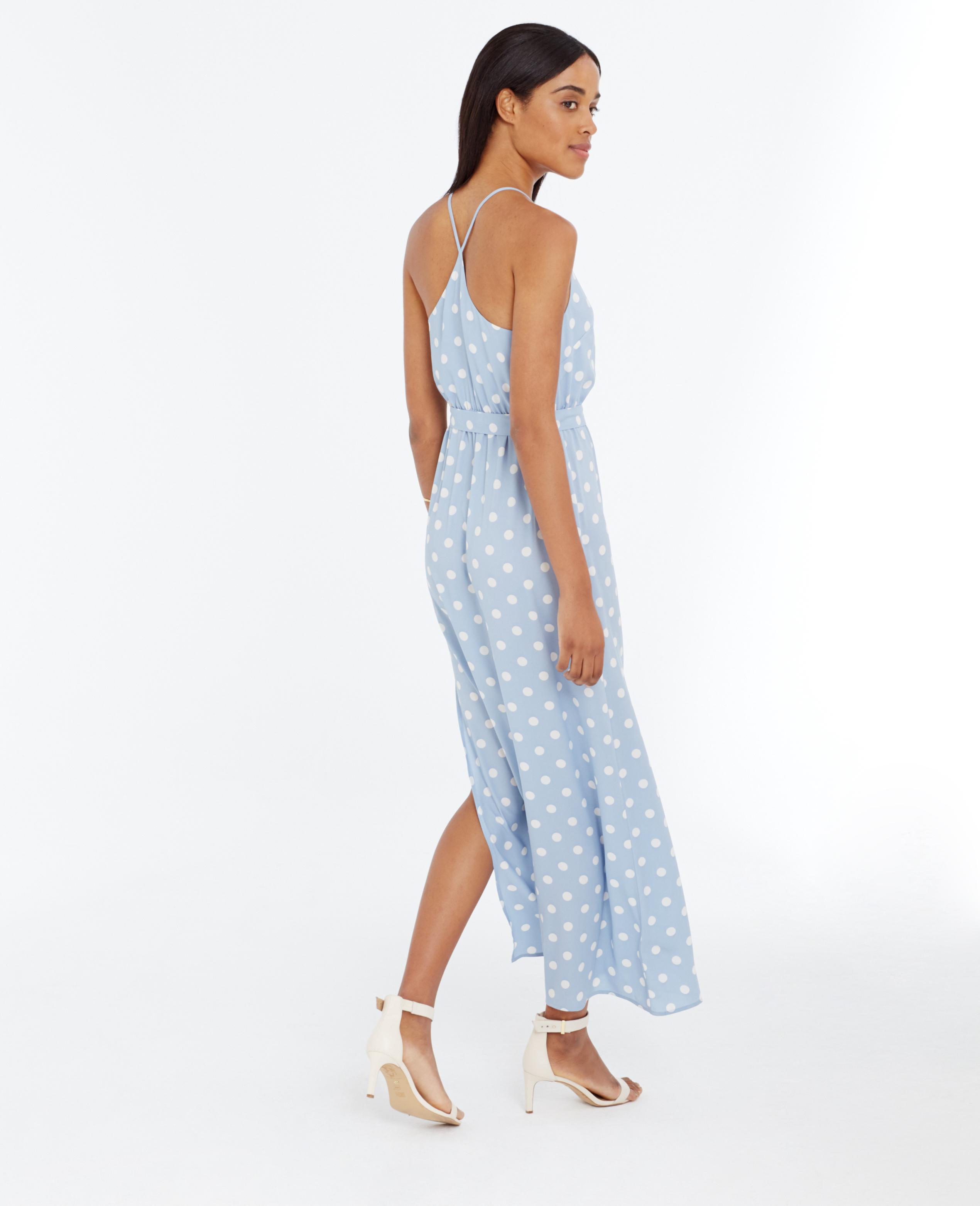 Lyst Ann Taylor Petite Polka Dot Maxi Dress In Blue