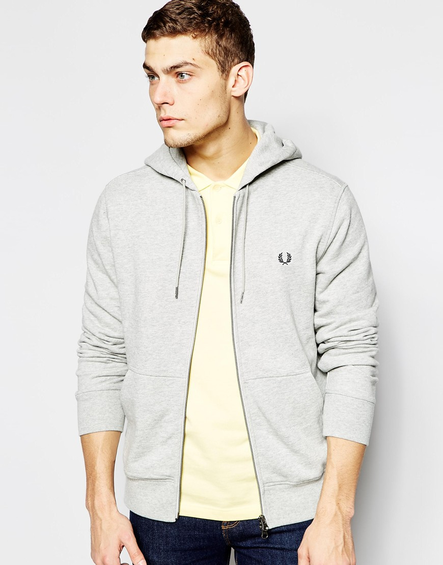 fred perry hoodie with zip up in gray for men lyst. Black Bedroom Furniture Sets. Home Design Ideas