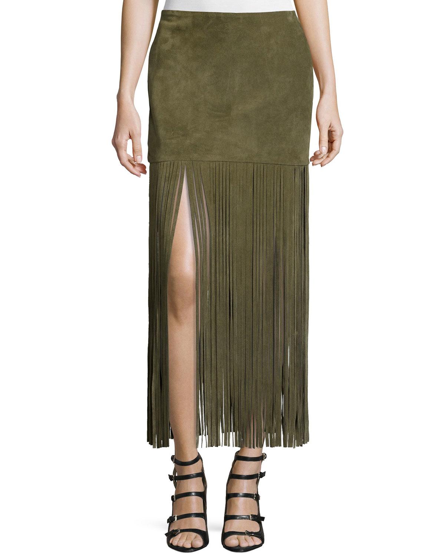theperfext mimi maxi skirt w fringe in green lyst