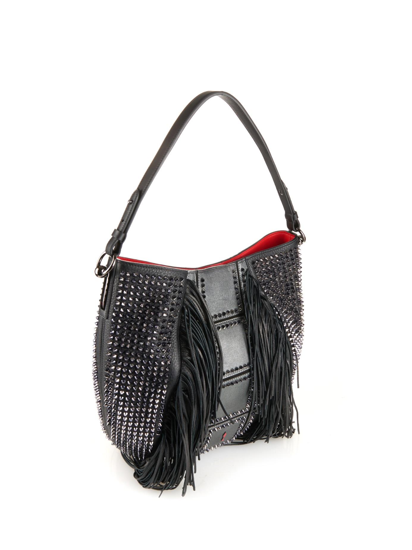 e664f620a02 Christian Louboutin Gray Lucky Hobo Fringe Shoulder Bag