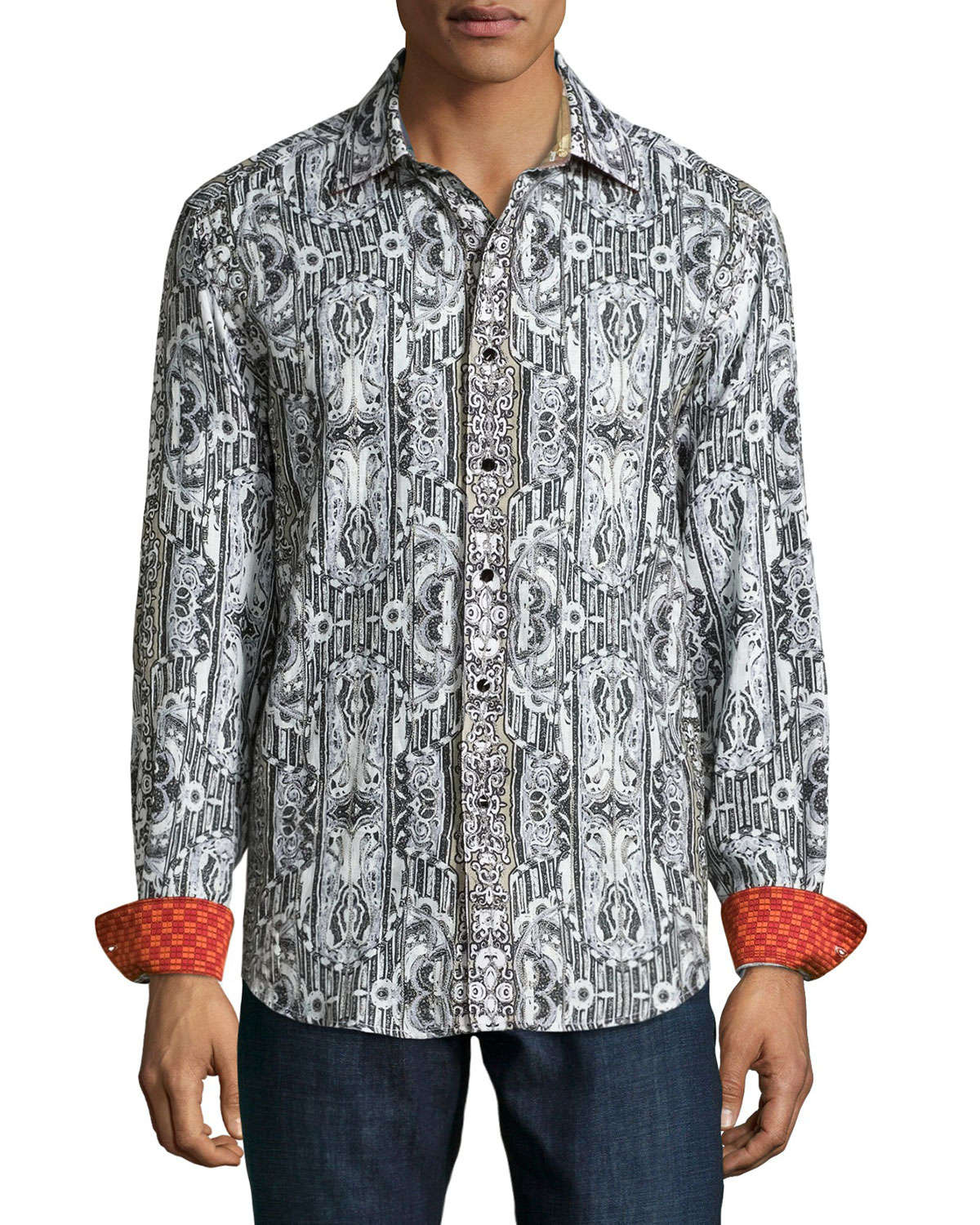 Robert graham pleasant valley printed linen shirt in gray for Where are robert graham shirts made