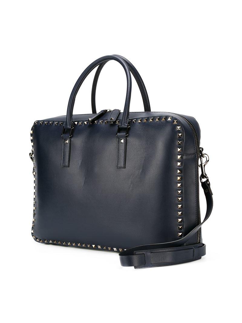 valentino 39 rockstud 39 laptop bag in blue for men lyst. Black Bedroom Furniture Sets. Home Design Ideas